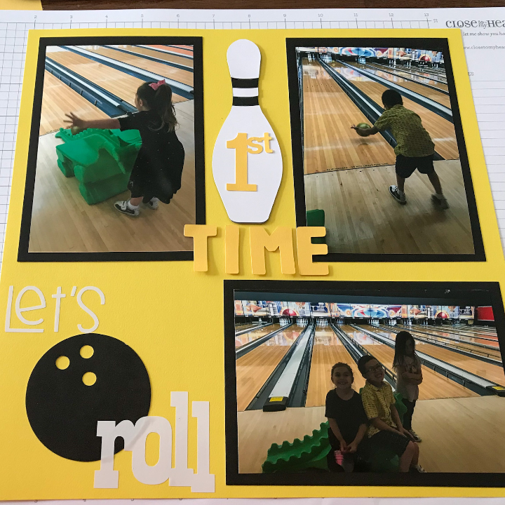 Bowling Scrapbook Page with a Lets Roll Page Title
