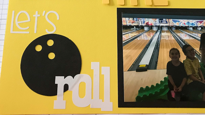 Bowling Scrapbook page title and layout for kids