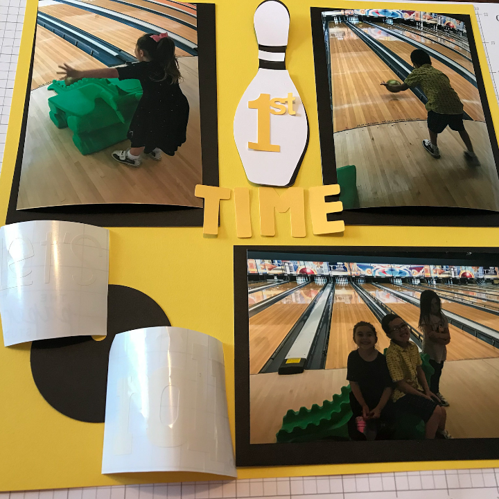 Cricut Bowling Scrapbook page with Close To My Heart Card Stock