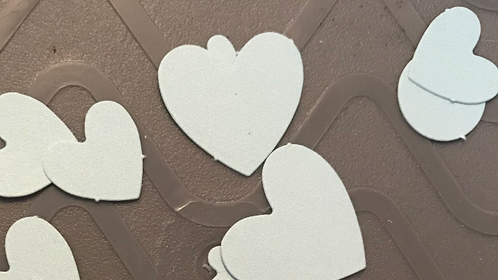 Hearts from die cuts to use on the scrapbook pages