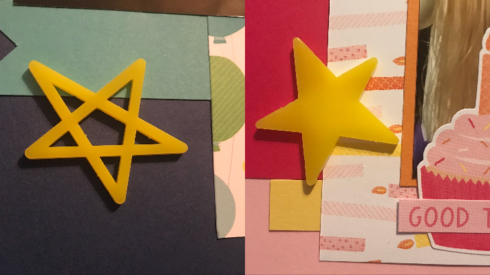 A fun happy birthday scrapbook idea is to add acrylic shapes