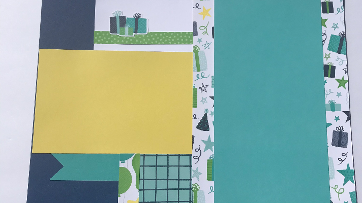 Use a variety of patterned and card stock paper for a birthday celebration scrapbook page
