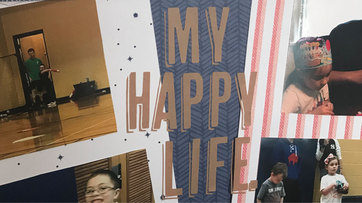 My Happy Life Digital Download on 12x12 scrapbook sketch