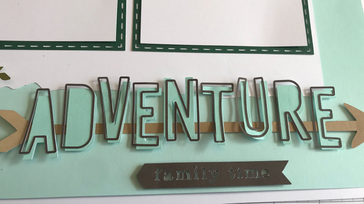 Adventure title for outdoors scrapbook layout with Cricut