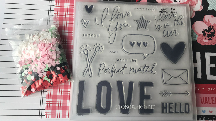 Close to My Heart Valentine's Day scrapbook paper and stamp