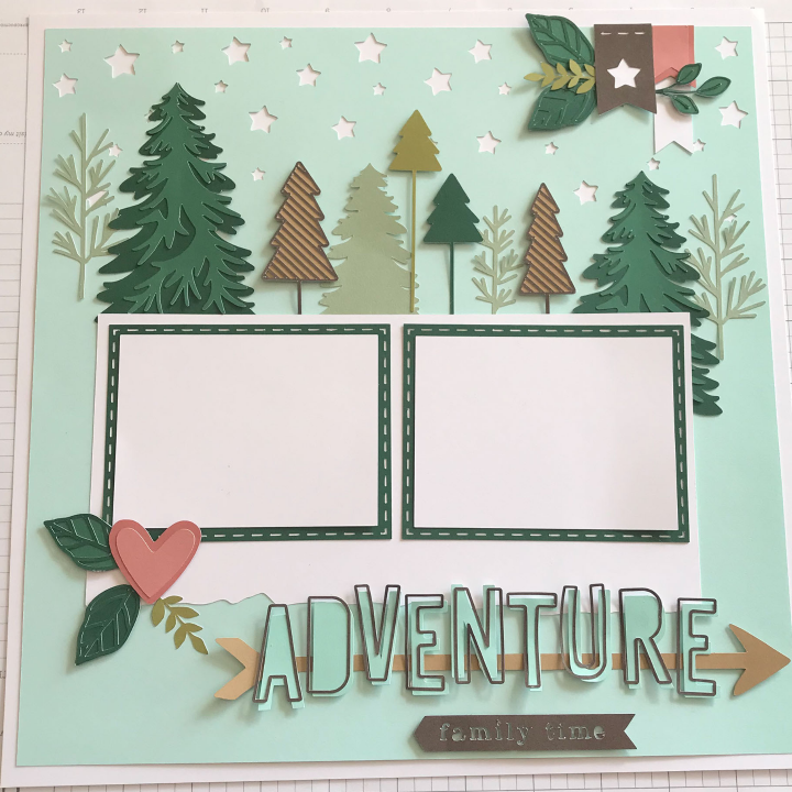 Cricut scrapbook template made with card stock and the close to my heart cricut design space template