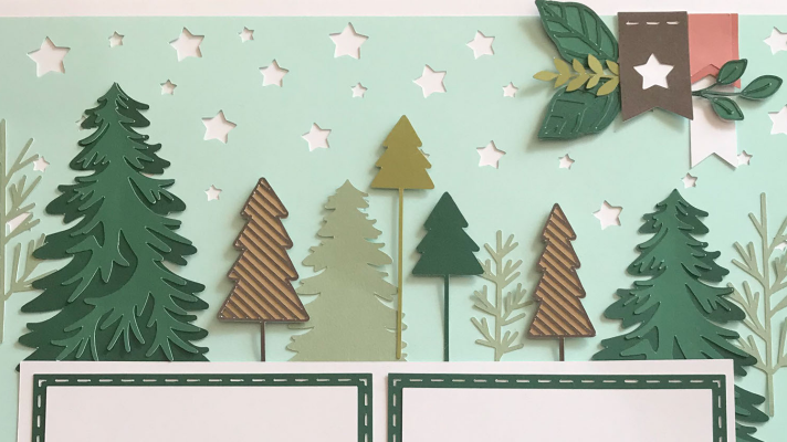 Use 3D foam dots to give your Cricut outdoor scrapbook layout some dimension