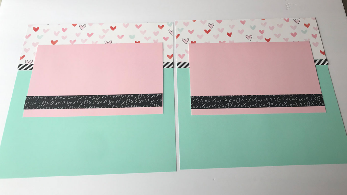 Double Page Valentines Scrapbook Layouts with Close to My Heart Perfect Match Paper