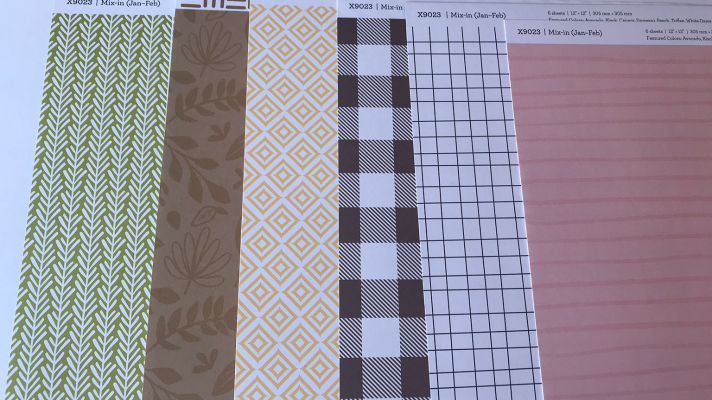 Double sided scrapbook paper with matching card stock to use for scrapbook layouts