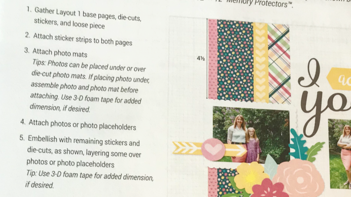 Follow the cut above layout instructions to create scrapbook pages