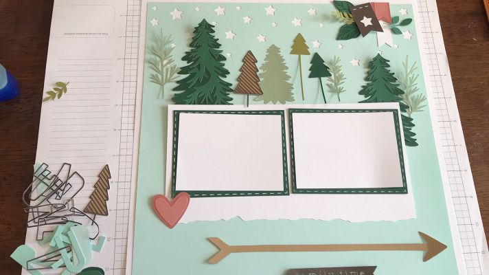 Layout the outdoors scrapbook layout before glueing