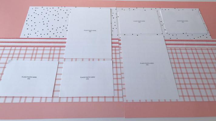 Scrapbook sketch with 6 photos for a 12x12 album