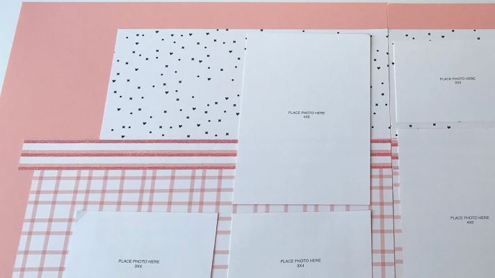 scrapbook sketch with measurements to create