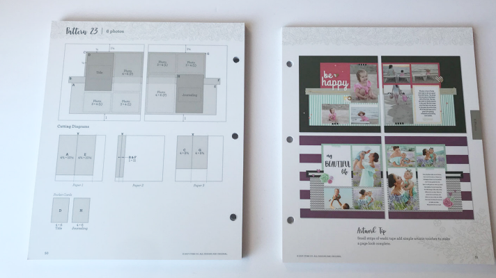 scrapbook sketches with measurements and pictures to follow to create easy 12x12 layouts