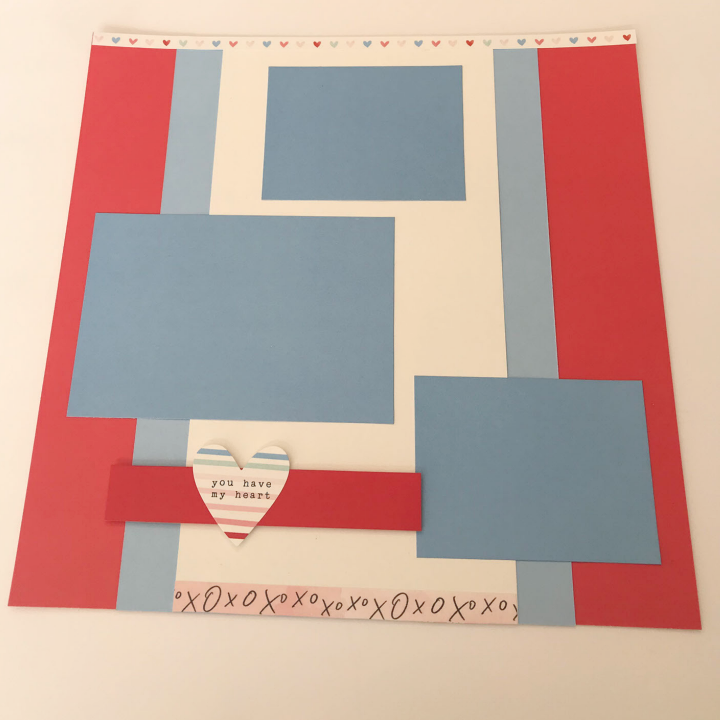 Valentine's Day Scrapbook sketch using card stock