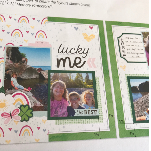 picture on the scrapbook kit with instructions that you can use to make the scrapbook pages