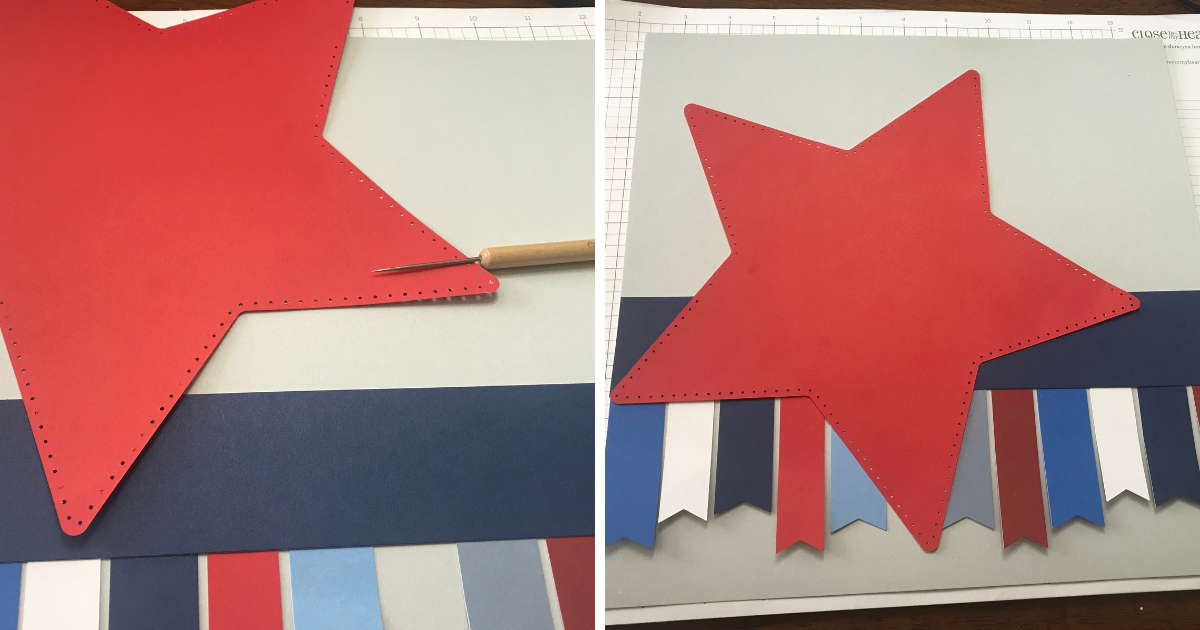 Adding the layers of the scrapbook design to the Cricut Patriotic Scrapbook page