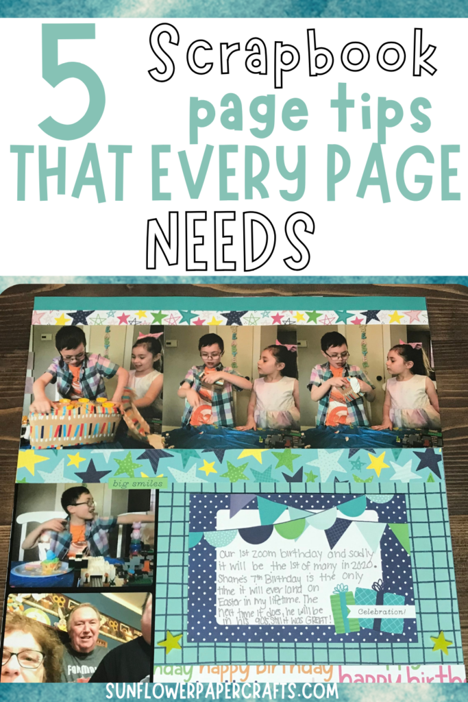 scrapbook page tips- 5 things that should go on every page
