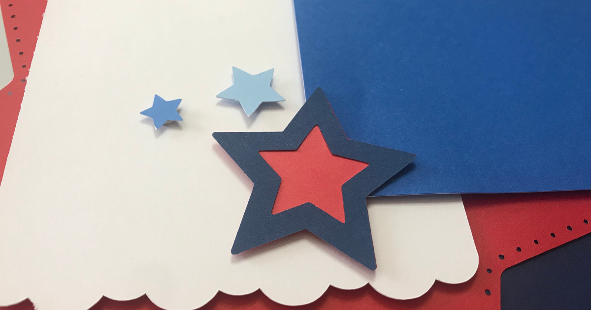 CTMH stars and sparklers for a Cricut Patriotic Scrapbook Page