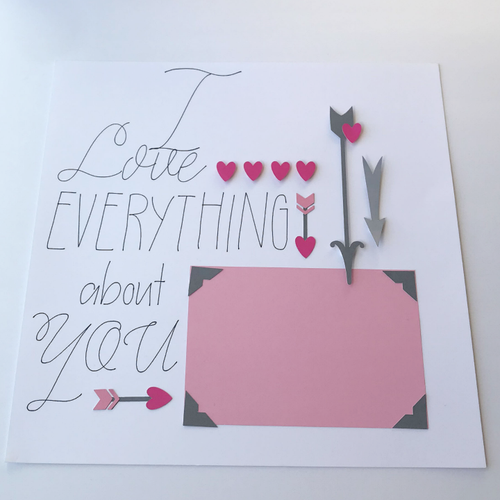 Using the Cricut writing feature in Design Space to write a scrapbook title