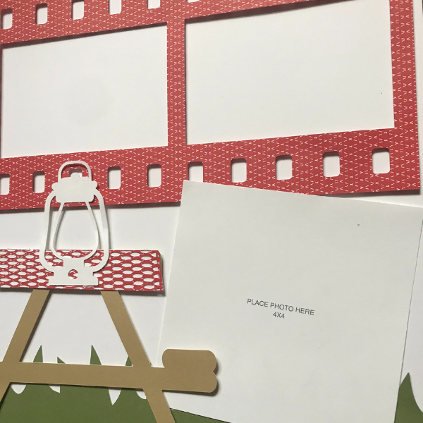 picnic scrapbook layout with Cricut holds 4 photos