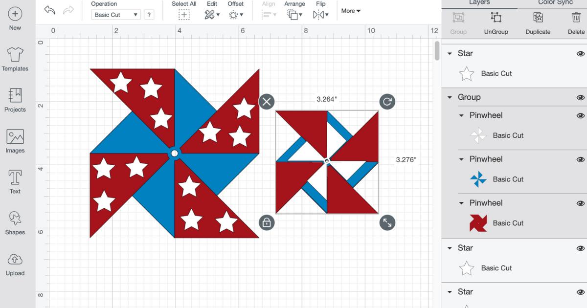 Cricut Pinwheel in Design Space