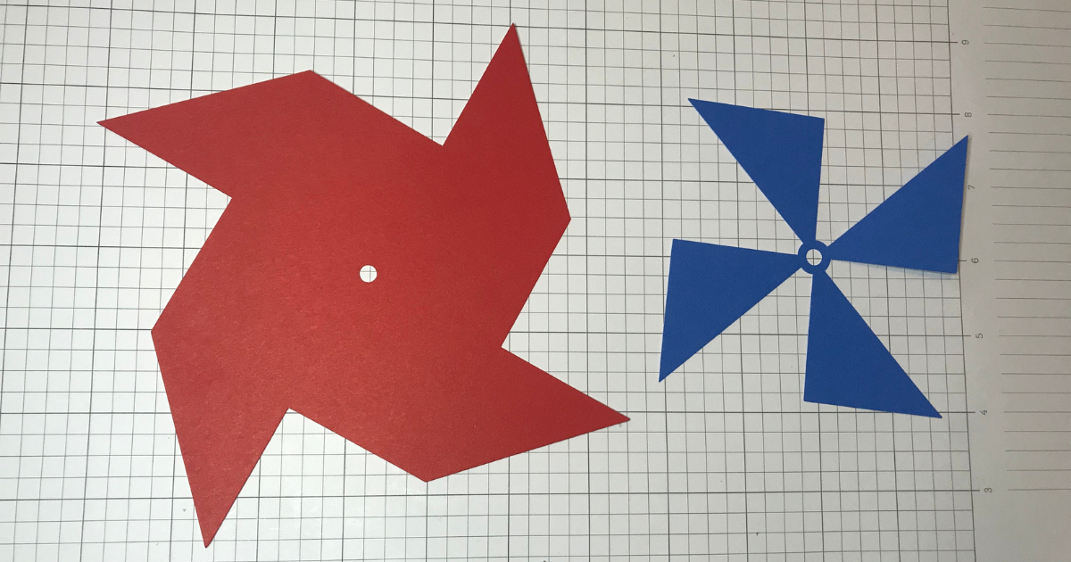 card stock pinwheels cut with the Cricut for a 4th of July Cricut Craft