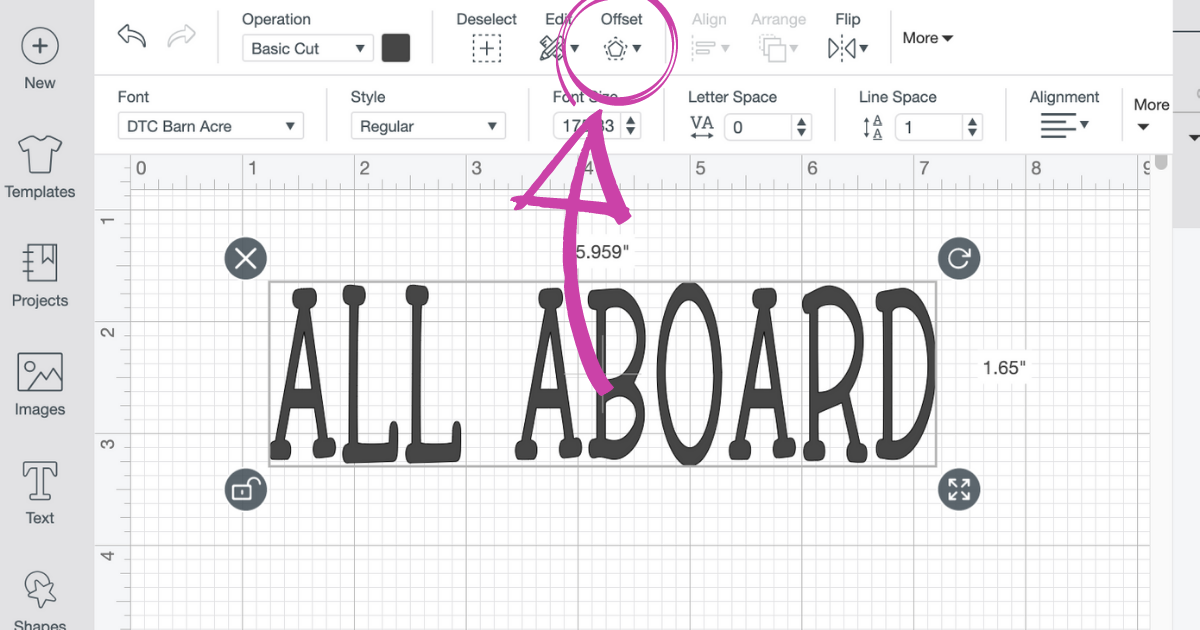 Offset in Cricut Design Space to click to make a shadow of the text