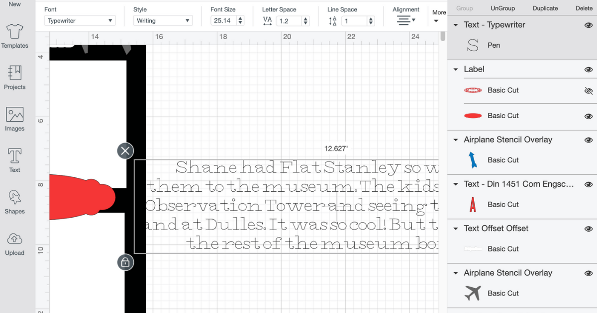 Type the text in Cricut Design Space of what your journaling card will say