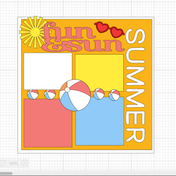 Summer themed scrapbook page in Cricut Design Space