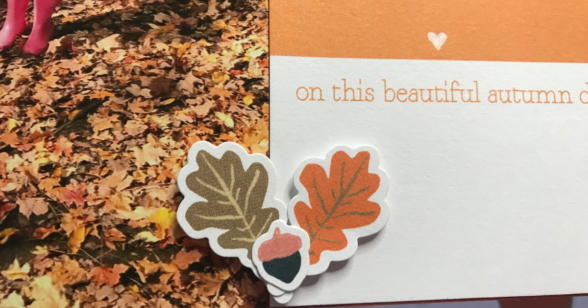 adding stickers to the fall scrapbook page layout