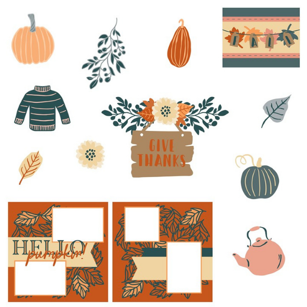 Close to my heart pumpkin spice svg cut files for fall scrapbook pages and paper crafts