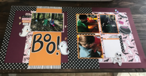 Double Page Halloween Scrapbook Layout