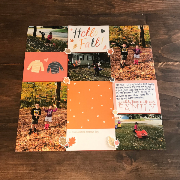 easy fall leaves scrapbook page