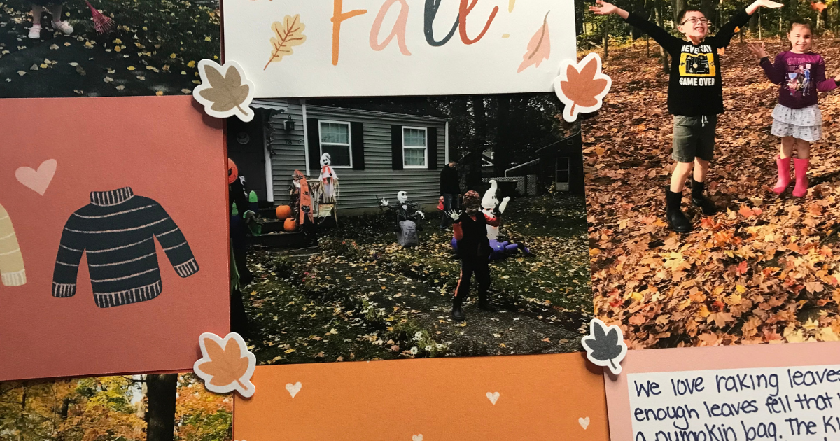 Fall stickers on easy falling leaves scrapbook page