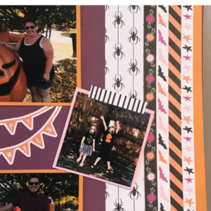 Halloween scrapbook page ideas to use patterned paper strips on page layout