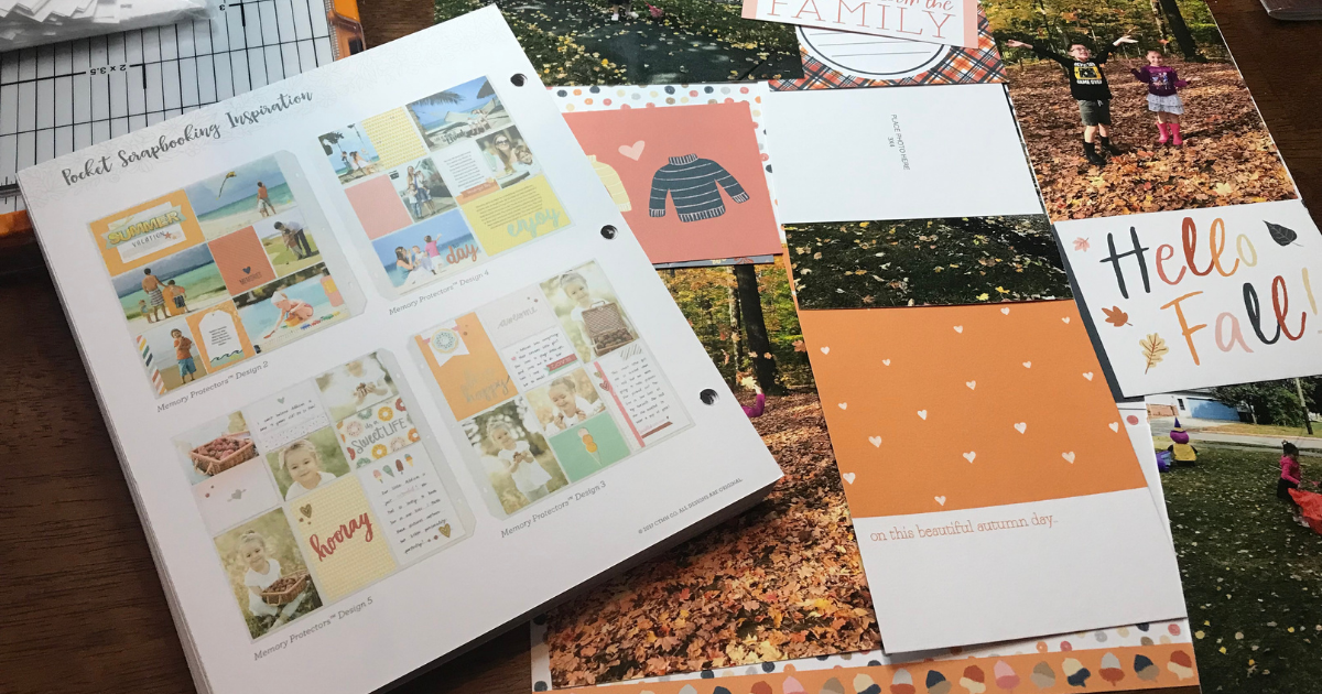 Laying out the fall scrapbook designs