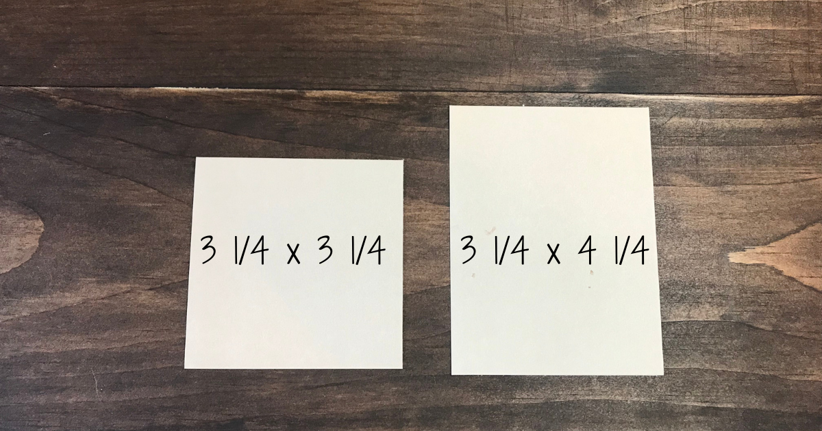 Measurements for Almond Card stock