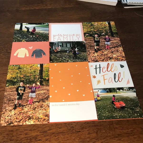 easy fall scrapbook page layout