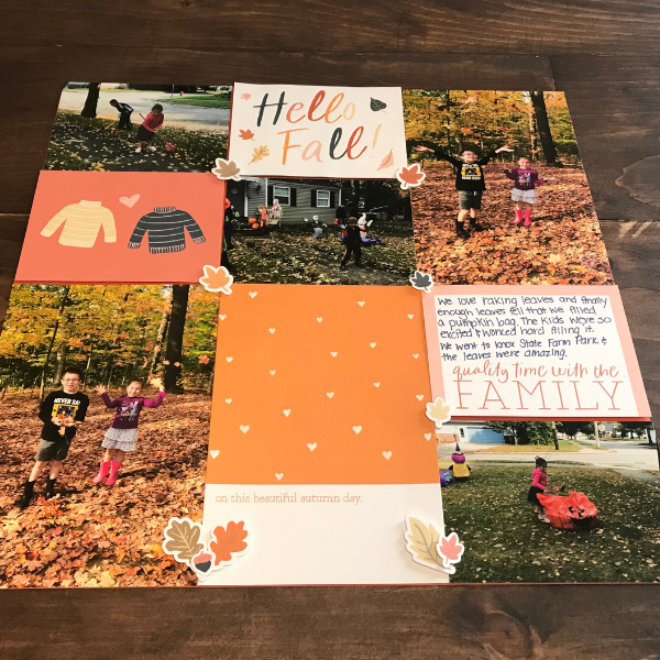 falling leaves scrapbook page