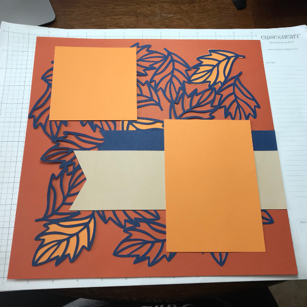 fall scrapbook page photo mats with CTMH svg