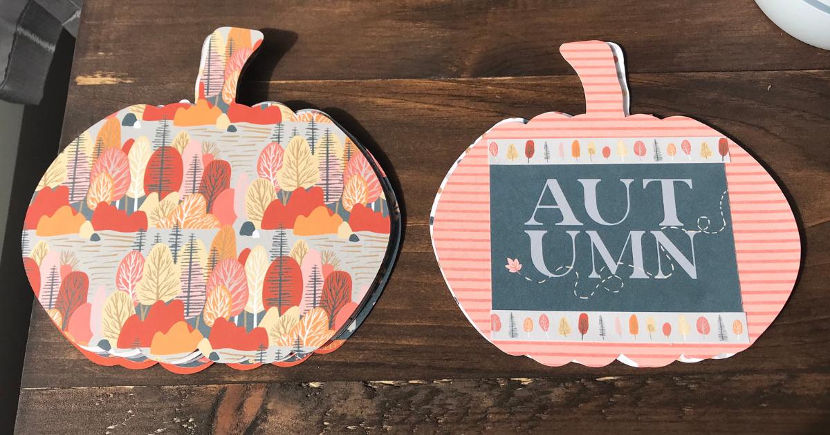Autumn mini fall book with pumpkin spice paper