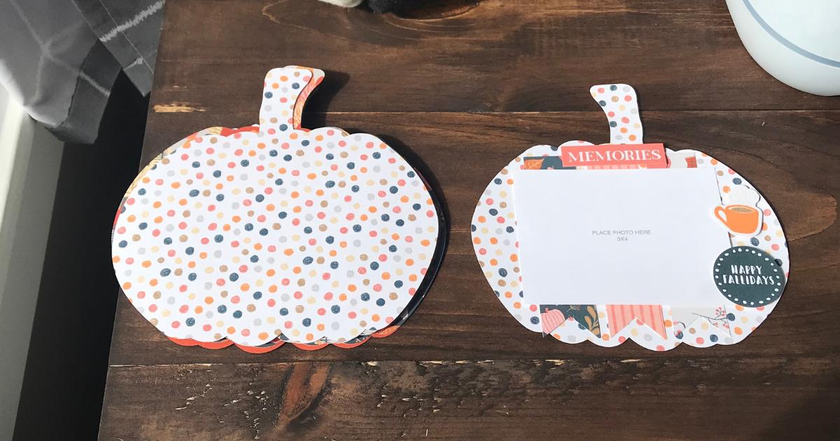mini fall album with a pumpkin scrapbook design